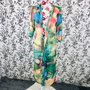 Vintage feel Miss look 2XL colorful tie up coverup